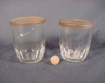 Ball Jelly Glass Jars * Vintage Old Collectible * 2 With Metal Tin Lids *