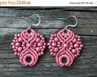 SALE Micro-Macrame Earrings - Pink