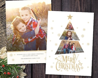 Christmas Card Template - for Photographers and Personal Use - 5x7 Holidays Photo card Template - Christmas Tree -045 Photoshop Template
