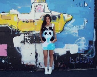 New York Couture *Limited Edition* Hand Dyed BLUE Panda Dress