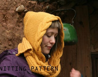 Knitting pattern, knit hooded scarf for women