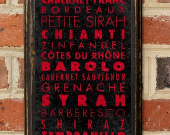 Red Wine Grapes Wall Art Sign Plaque Gift Present Home Decor Vintage Style Merlot Cabernet Bordeaux Rhone Pinot Zinfandel Chianti Antique