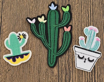 Iron On 3 Cacti Patch Set - Cactus - Jacket Patches - High Quality - Unique - DIY
