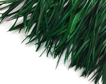 Biot Feathers,  1 YARD - Hunter Green Goose Biots Wholesale Feather Trim : 4196