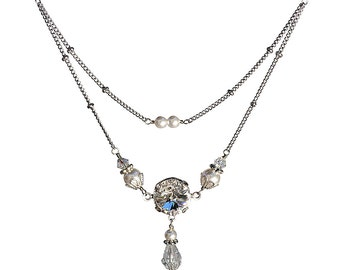 Vintage Necklace, Swarovski Elements Rivoli Crystal Necklace, April Birthstone Necklace, Bridal Vintage Necklace