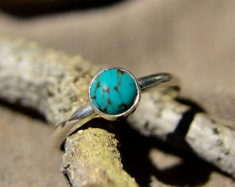 Turquoise and Sterling Silver Stacking Ring, Bridesmaid's Gift, December Birthstone