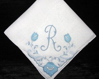 Blue Wedding Handkerchief, Embroidered Initial Vintage Hankies Personalized for Bridal, H R E M L B S A N or P