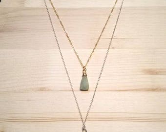 Aquamarine Triangular Briolette Gemostone Multistrand Sterling Silver and Gold Necklace // Gifts for Her