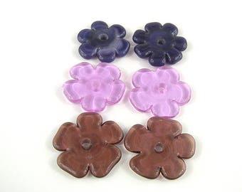 SRA Handwerker Natur Themen Glasperlen set von sechs handgefertigten Glas Blume Blütenblatt Scheiben Patty lakinsmith