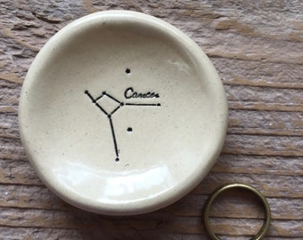 Cancer Zodiac Constellation Pottery Ring Dish - June Birthday Gift - July Birthday Gift - 1-2 Weeks for Delivery