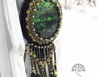 Deep Forest bead embroidered necklace, Embroidery, Beaded fringe, Boho necklace, Tassel necklace, Green black Gemstone jewelry, Gift ideas