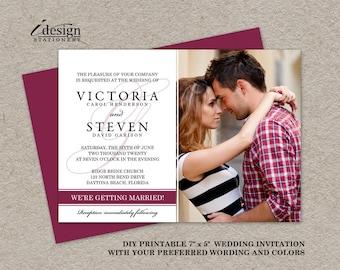Photo Wedding Invitation, Photo Wedding Invites, Printable Elegant Photo Wedding Invitations, DIY Photo Wedding Invites