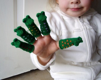 Five Little Speckled Frogs Finger Puppet Set.  (Includes 5 different Speckled Frogs.)  We can make custom orders.