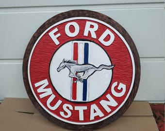 FORD MUSTANG - Unique Large logo carved in wood - 54 cm
