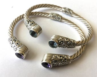 Sterling Silver Twisted Rope cuff bangle bracelet with Blue topaz or Amethyst 7 inches up to size 7.5 Ab07