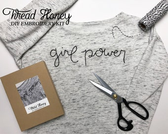 GIRL POWER DIY Clothing Embroidery Kit // Modern Embroidery Pattern // Beginner Level // You Choose Colors!