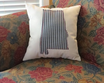 Alabama Houndstooth Beige Canvas Throw Pillow