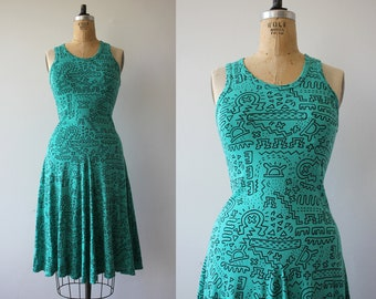 vintage 1980s dress / 80s racerback dress / 80s tank dress / 1980s turquoise dress / 80s novelty print dress / small medium
