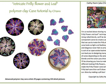 "Intricate ""Frilly"" flower and Leaf polymer clay cane tutorial by CHarm"