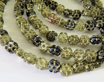 Czech 7MM Flowers Opaque Black Clear Gold Glaze Small Hawaii Lei Pressed Glass 40 Beads PRE7FL003