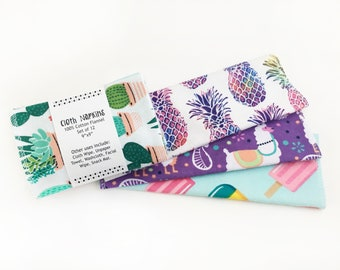 Set of 12 Cloth Napkins // Mixed // Surprise // Cloth Wipes // Kids // Toddler