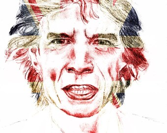 Rock and Roll Decor -  Sir Mick Jagger of the Rolling Stones with UK Flag - Print on Canvas by Teo Satre. 20 by 27 Inches