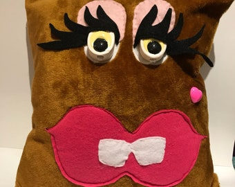 Handmade Gap-toothed Fancy Monster Pillow