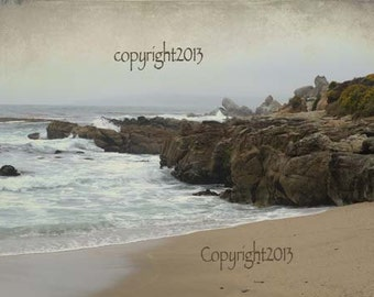 Beach - Greeting Cards, scenic ocean,rocks, beach, atmospheric, Set of 5 Blank photo cards