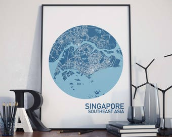 Singapore, Southeast Asia Map Print