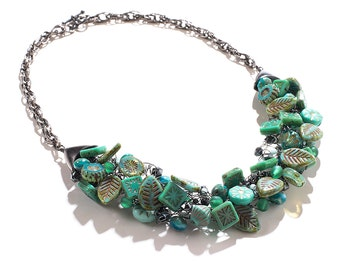 Turquoise/Silver Wire Crochet Statement Necklace