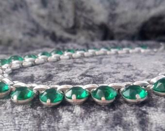 40s Emerald Paste & Chrome Riviere Collar