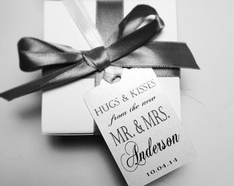 Wedding Thank You Tags -Personalized Wedding Favor Tags- hugs and kisses from the new Mr. And Mrs.