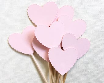 24 Pink Scalloped Heart Cupcake Toppers, Food Picks, Wedding, Baby Shower, Love, Double-Sided, Valentine Party Decor