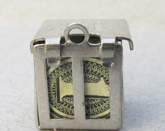 Vintage Sterling Silver MAD MONEY Charm with Real Dollar Bill Inside