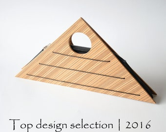Purse triangle wooden, zebrano veneer, handmade, women's gift, wooden bag, awarded design, architecture and fashion