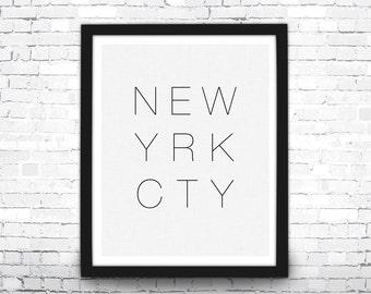 New York City Art Print, Black and White, New York City Print, Typographic Art Print, Travel Poster, Modern Art Print, NYC Print, Travel Art