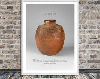Kintsugi print, Kintsukuroi, gold repair, Kintsugi jar print, Japanese aesthetics, Wall Art, Printable Art, Instant Digital Download