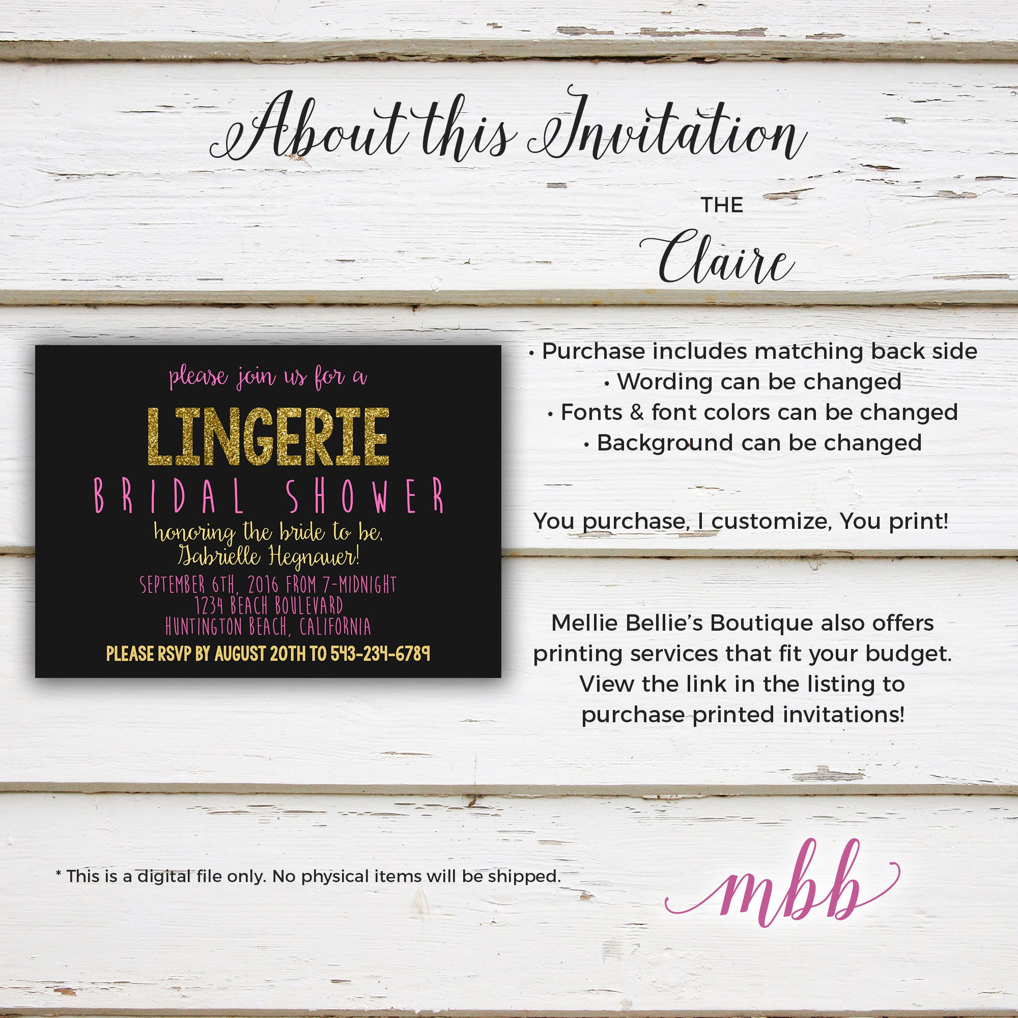 Printable glitter lingerie bridal shower invitation vegas black gallery photo gallery photo filmwisefo