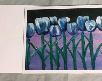 Note Card Blue Tulips