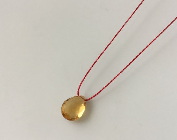 Citrine Drop on Red Silk Cord