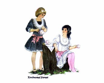 1980s Girls Low Waist Dress and Tie Belt Enchanted Forest McCalls 9087 Vintage Sewing Pattern Size 7 Breast 26 UNCUT