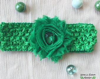 Baby Flower Headband Emerald Green Gem