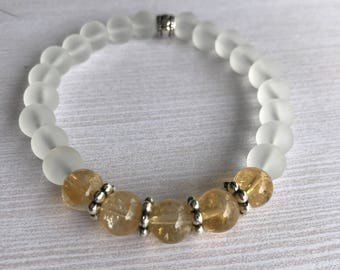 Citrine Bracelet Genuine Semi Precious Beads Crystals-Clarity-Healing-Confidence-Power-Optimism