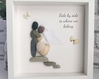 "Handmade framed Pebble Art ""Veil & Rocks"", Wedding Pebble Picture, Personalised Pebble Picture, Wedding Gift"