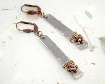 Mixed Metal Aluminum and Copper Pierced Earrings