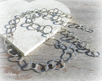 Silver Circles Necklace, Large Chain Necklace, Sterling Silver Jewellery