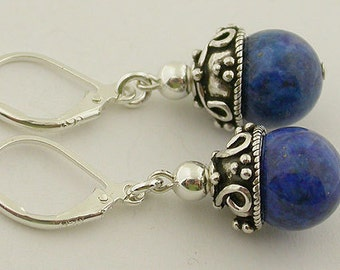 Lapis Lever Back Sterling Silver Earring 37a