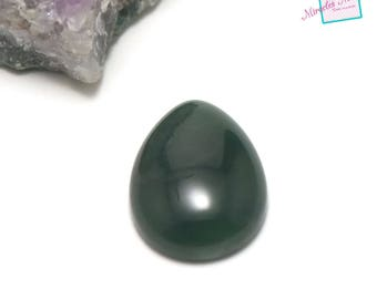 "1 cabochon Moss agate ""20 x 15 mm drop"", natural stone"