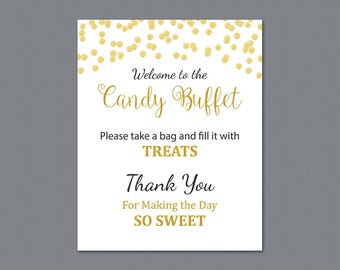 Candy Buffet Sign, Printable Candy Bar Sign, Gold Confetti Wedding Table Sign, Grab a Treat Sign, Baby Shower, Bridal Shower Decor, A004