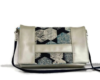 Clutch bag - Shibuya - Silver and blue - small pouch